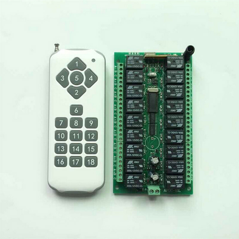 DC12V 18CH RF Wireless Remote Control Switch System 1pcs 18Key Transmitter + 1pcs 18CH Receiver Light Lamp Smart Home 315/433mhz 2pcs receiver transmitters with 2 dual button remote control wireless remote control switch led light lamp remote on off system