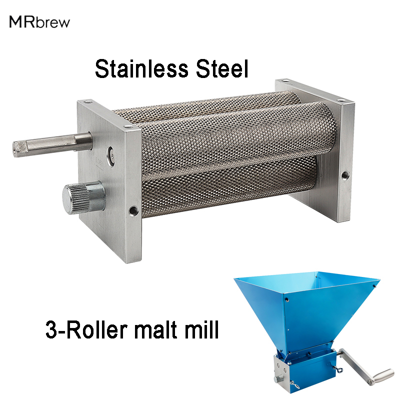 New Update 2019 Stainless Steel 3 Roller Barley Malt Mill Grinder Crusher Grain Mill Home Beer