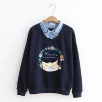Japanese Harajuku Vintage Retro Boho Cartoon Letters Cat Print Knitted Cotton Fleece Women Pullovers Hoodies Autumn Sweatshirts