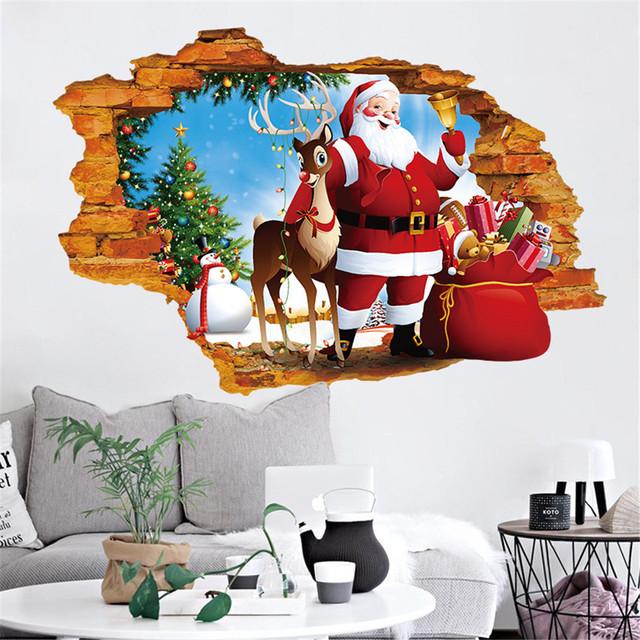 Stickers My House 2019 Happy New Year Merry Christmas Household Room Wall Sticker Mural Decor Decal Decoration 17OCT24