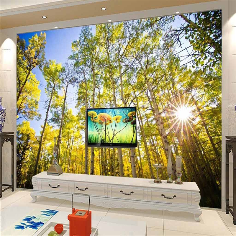 beibehang Large custom wallpaper 3D garden forest sunny sofa bedroom ...