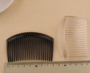 Image 2 - (50 pcs/lot) 85*55mm plastic resin hair combs base black /transparent brushed vintage hair combs base setting fc079