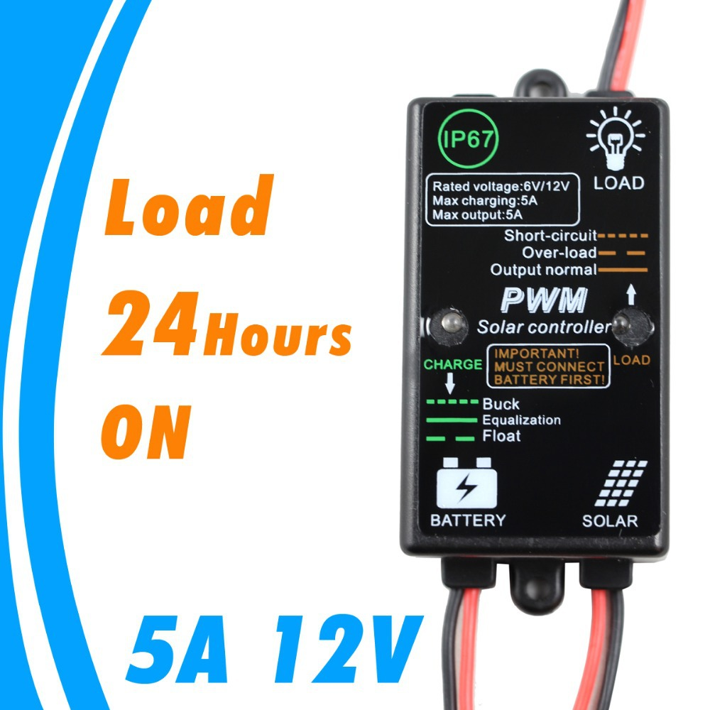 12v Solar Panel Charger Controller 5a Charge Regulator Circuit Showing How A Charging Battery Can Be Used As Load On 24hours For Small Home System 5 Amps Pv In Controllers From