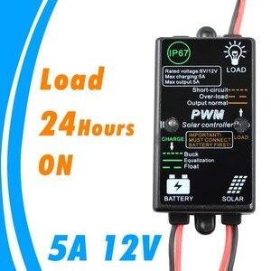 Mini controlador de cargador de Panel Solar de 5A 12V, regulador de carga Solar a prueba de agua, carga de 24 horas para sistema Solar doméstico de 5 Amp para exteriores