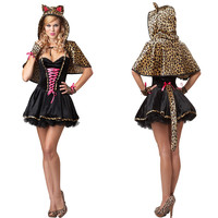 Lady Halloween Costume Women New Sexy Leopard Devil Clothing Cosplay Costume Women Make Up Party Dress