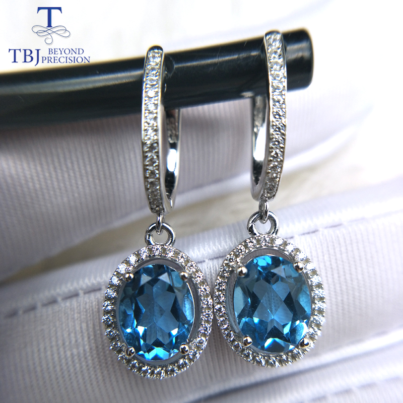 TBJ blue topaz clasp drop earring with natural gemstone 925 sterling silver classic design fine jewelry