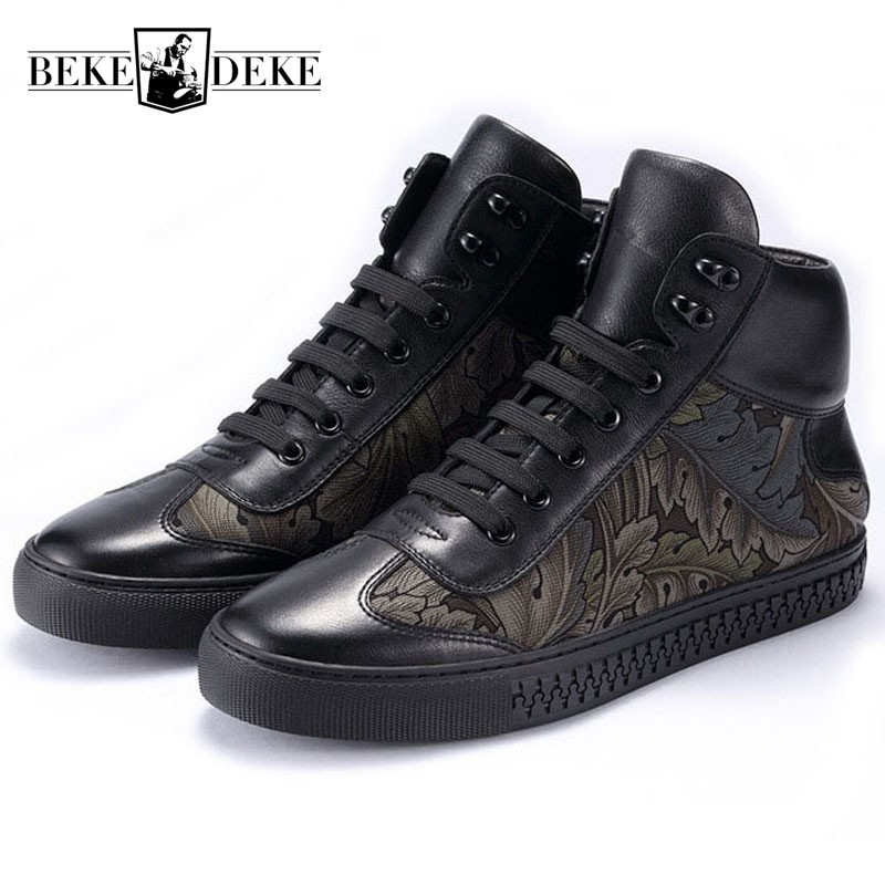 European Casual Breathable Man Shoes 2019 New Winter Genuine Leather Warm High Top Shoes Fashion Printing
