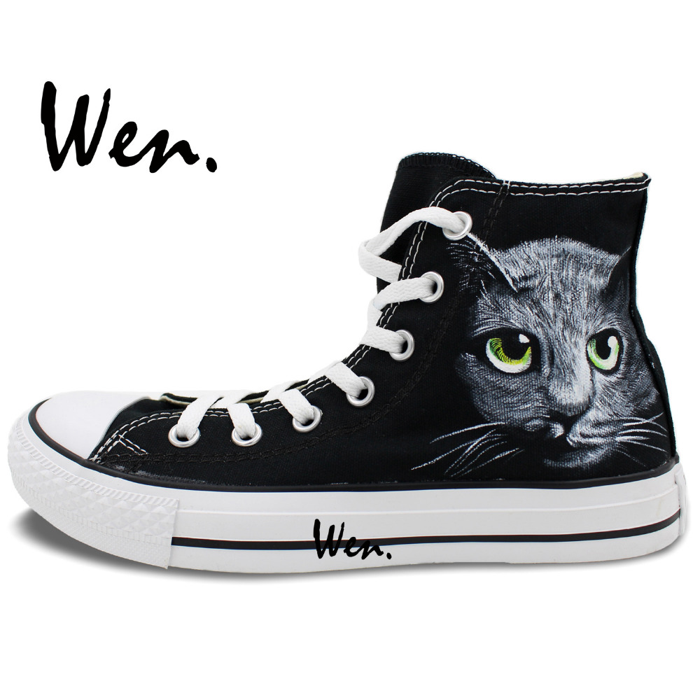 Wen Black Design Custom Hand Painted Shoes Pet Cat Head Man Woman s High  Top Canvas Sneakers for Birthday Gifts 0be9040c3