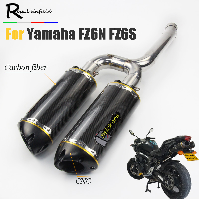 FZ6S FZ6N Motorcycle Exhaust Muffler pipe Mid Pipe Slip on For Yamaha FZ-6N FZ-6S FZ6 Motorcycle pipe exhaust Carbon fiber laser new arrival black tempered plastic motorcycle rear tail section cowl fairing cover for yamaha fz6n fz6s fz 6n 6s fz 6n fz 6s