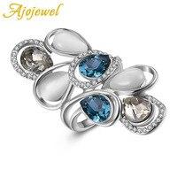 Ajojewel Rozmiar 6-8 Luksusowe Kobieta Biżuteria Trendy Opal Kamień Pierścionki Dla Kobiet Z Ciemny Niebieski Kryształ Geometria Party prezent