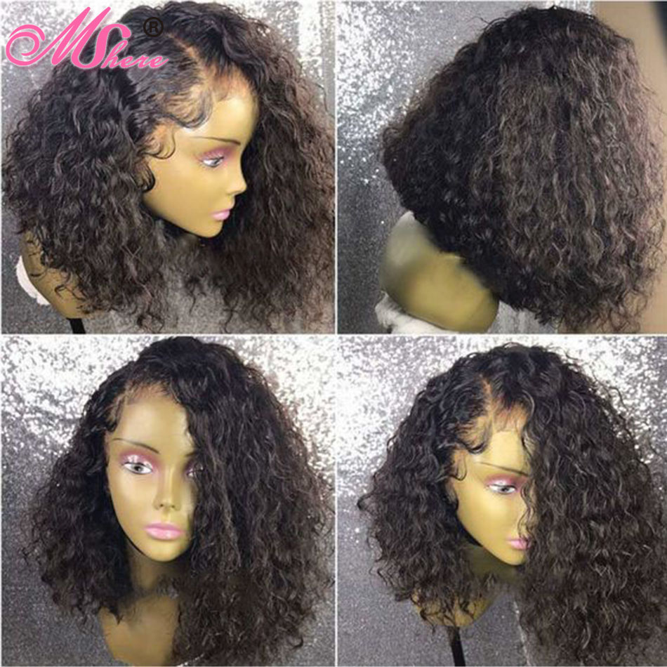 Mshere 4x4 Closure Wig Brazilian Bob Wig Curly Lace Front Short Human Hair Wigs For Black