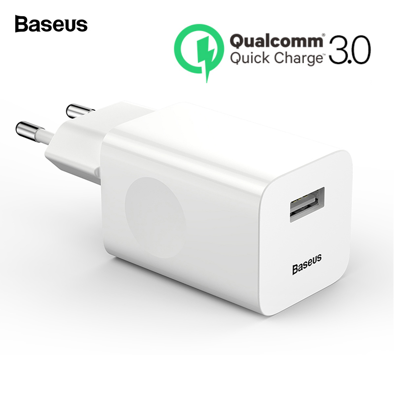 Baseus 24W Quick Charge 3.0 USB Charger QC3.0 Wall Mobile Phone Charger for iPhone X Xiaomi Mi 9 Tablet iPad EU QC Fast Charging Борода