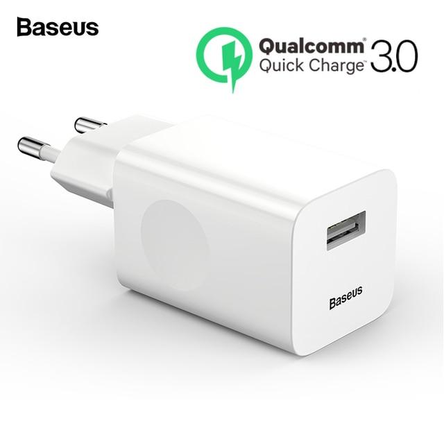 Baseus 24 W מהיר תשלום 3.0 USB מטען QC3.0 קיר נייד טלפון מטען עבור iPhone X שיאו mi mi 9 tablet iPad האיחוד האירופי QC מהיר טעינה