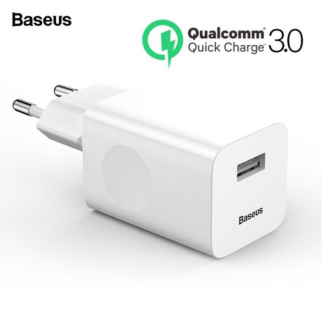 Cargador USB 3,0 de carga rápida Baseus 24 W QC3.0 cargador de pared para teléfono móvil para iPhone X Xiaomi mi 9 tableta iPad de la UE QC de carga rápida