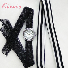 Kimio Women's Lace Bracelet Watches Classic Black White Ladies Dress Quartz Watch For Women Clock With Gift Box relogio feminino