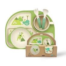 5pcs/set Baby Children Tableware Set 100% bamboo fiber Plate Set Animal zoo Baby Plate Bow Cup Forks Dinnerware Feeding Set