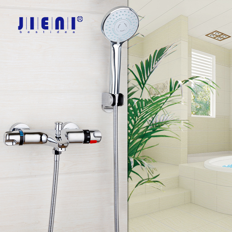 JIENI Wall Mounted Chrome Polished Thermostatic Bathroom Bathtub Sink Shower Sets Chrome Brass Basin Mixer Taps Faucet Set купить в Москве 2019