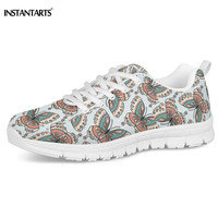 INSTANTARTS Butterfly Beautiful Prints Women Casual Flats Shoes Breathable Mesh Walking Sneakers Custom Brand Ladies Shoes Light