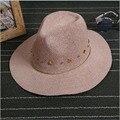 2016 Nueva Inglaterra de La Manera de Las Mujeres Pequeño sombrero de Fedora Del Sombrero Flexible del Gángster Cap Beach Summer Sombrero de Paja Sunhat Cinturón Cubierta fuera de Panamá