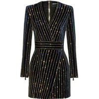HAGEOFLY Women Bling Bling Long Sleeve Dress Black V Neck Full Sleeve Women Casual Office Dress Party Dress Brazil Vestidos XXL