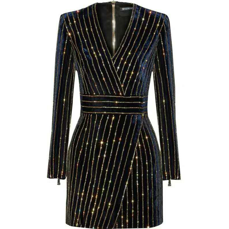 HAGEOFLY femmes Bling Bling à manches longues robe noir col en v à manches longues femmes décontracté bureau robe de soirée brésil Vestidos XXL