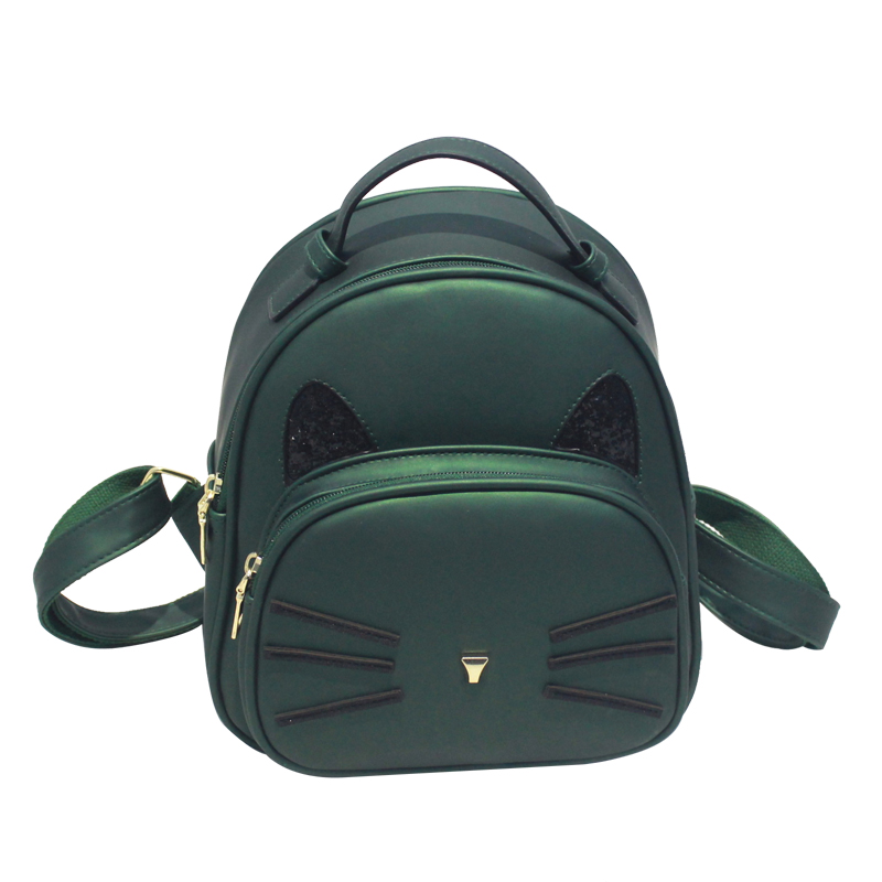 Cat Backpack Pink Preppy Style School Backpacks Funny Quality PU Leather Fashion Women Shoulder Bag Travel