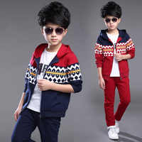 Children's Spring and Autumn Boy's Suit Sports Fleece Two-piece Outfit Kids Clothing Sets Red Dark Blue