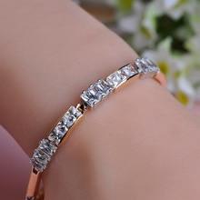 Vente chaude D'été Style Opales Bracelets Simples Pour Les Femmes 18 K Vrai Or Plaqué Couronne Belle Cristal Strass Bracelet