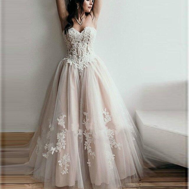 Boho Corset Sweetheart Appliques Wedding Dresses Off the Shoulder Lace Up Bridal Gowns Formal Champagne Tulle Vestido De Noiva 1