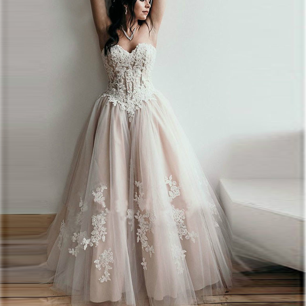 Sexy Sweetheart Lace Appliques Wedding Dresses Off The Shoulder Corset Back Bridal Gowns Formal Champagne Tulle Vestido De Noiva