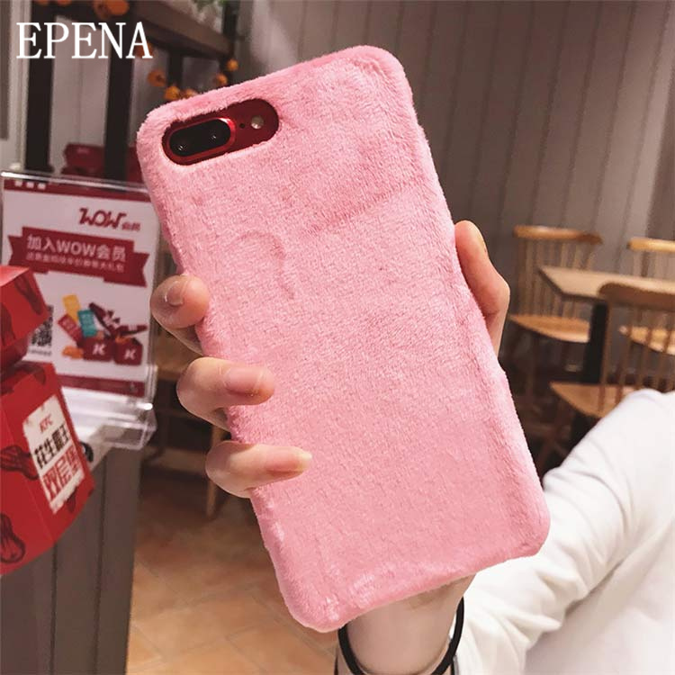 EPENA Luxury Villus Fur Phone Case For Apple IPhone X XR XS Max Cover Smooth Plush Cases For IPhone 8 7 Plus 6 6S Plus Funda
