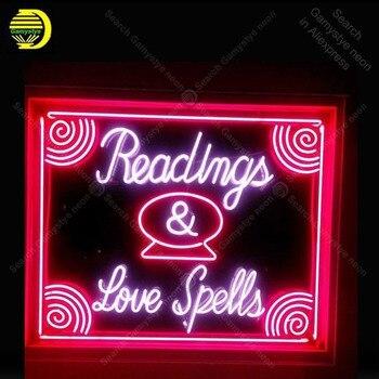 Letrero de neón para leer, hechizos de amor, Bombilla de neón, letrero artesanal, cerveza, restaurante, dormitorio, decoración de habitación, luz de neón vintage, anuncio luminoso