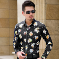 CE01 L-6XL 7XL Hombres Camisas de Manga Larga de Otoño 2016 Mens Camisas Floreadas Camisa Hawaiana Hombres Camisa de Vestir Camisas Párr Hombre