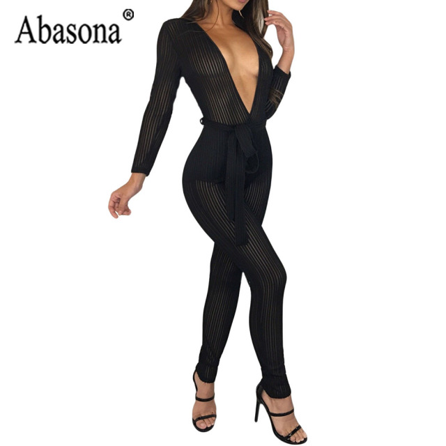 25f9383648 Abasona Striped Mesh Black Jumpsuit Women Sexy Deep V Neck Night Club  Jumpsuit Long Sleeve Bodycon Romper Women Jumpsuits Sashes