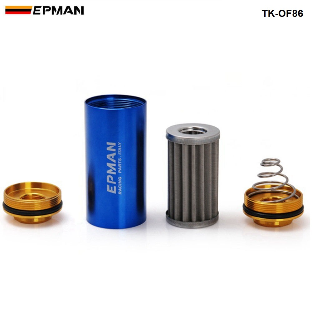Racing Ready Inline Fuel Filter OD:8.6MM Blue with 100 Micron Element