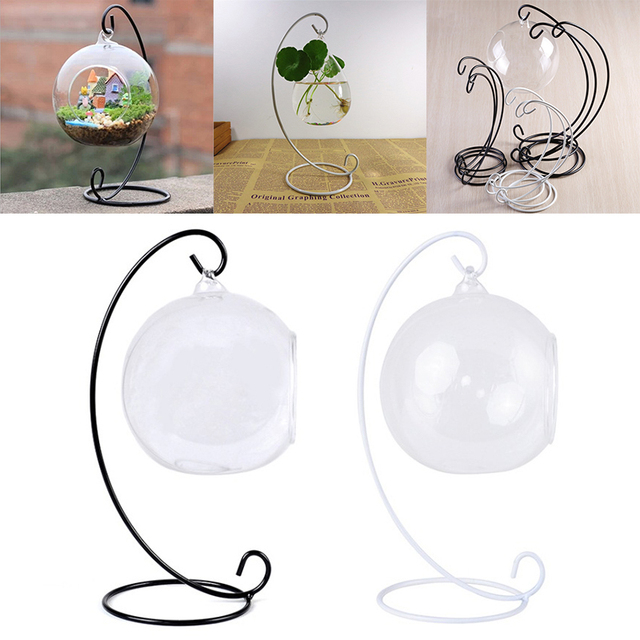 1PC Hanging Holder Crystal Terrarium Container Without Glass Ball Vase Pot Iron Stand Holder Decoration Home Decor 4