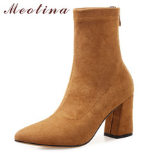 Meotina Autumn Elastic Boots Women Zipper Chunky High Heels Ankle Boots Slim Stretch Pointed Toe Shoes Ladies Winter Size 34-39 esveva 2019 women boots shoes zipper pointed toe butterfly not ankle boots square high heels autumn shoes woman size 34 39
