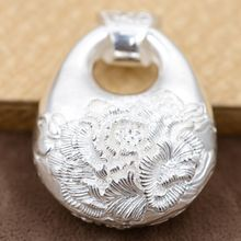 Handmade Silver Pendant S925 Sterling Silver peony sweater chain female double flowers rich three-dimensional style