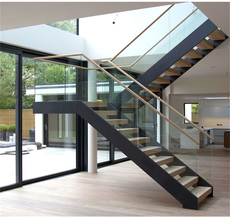 U Shaped Staircase Metal Frame Glass Railing Double Steel Stringer | Double L Shaped Staircase Design | Limited Space | Space Saving Stair | Inner Staircase | Traditional | 90 Degree