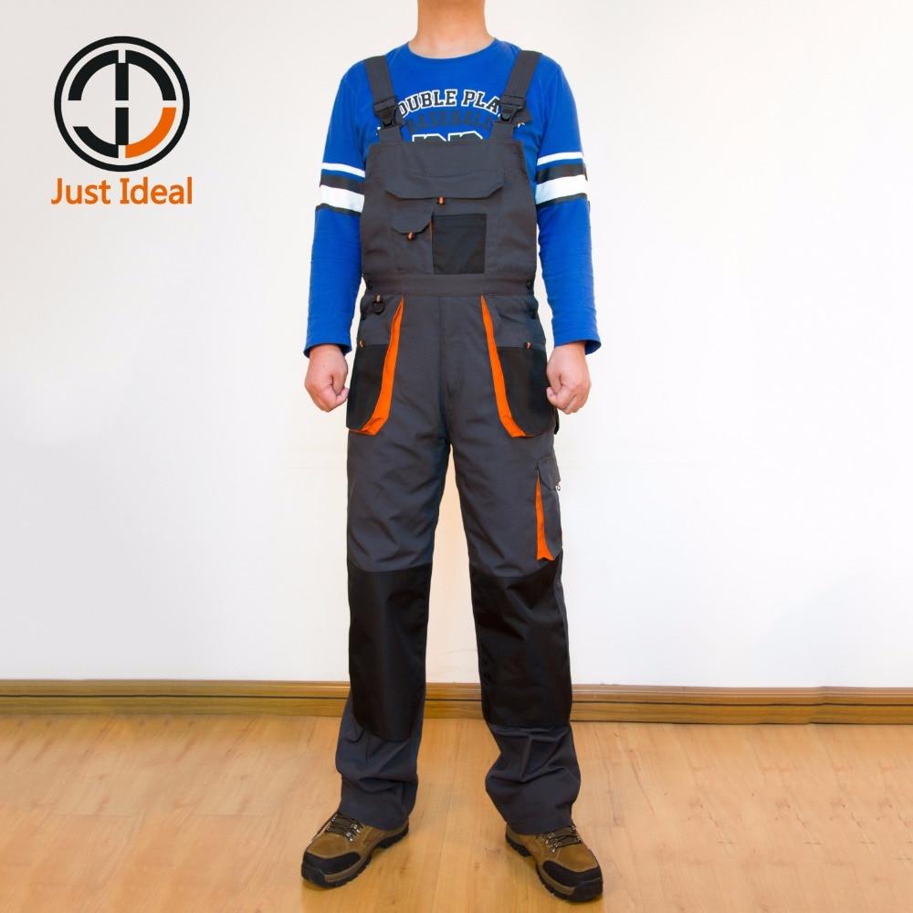 Для мужчин брюки-карго нагрудник брюки с карманами полотно в целом Оксфорд Водонепроницаемый Тактический Повседневное комбинезон Большие ...