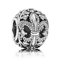 Authentic 925 Sterling Silver Bead Charm Openwork Fleur De Lis Flower With Crystal Bead Fit Pandora