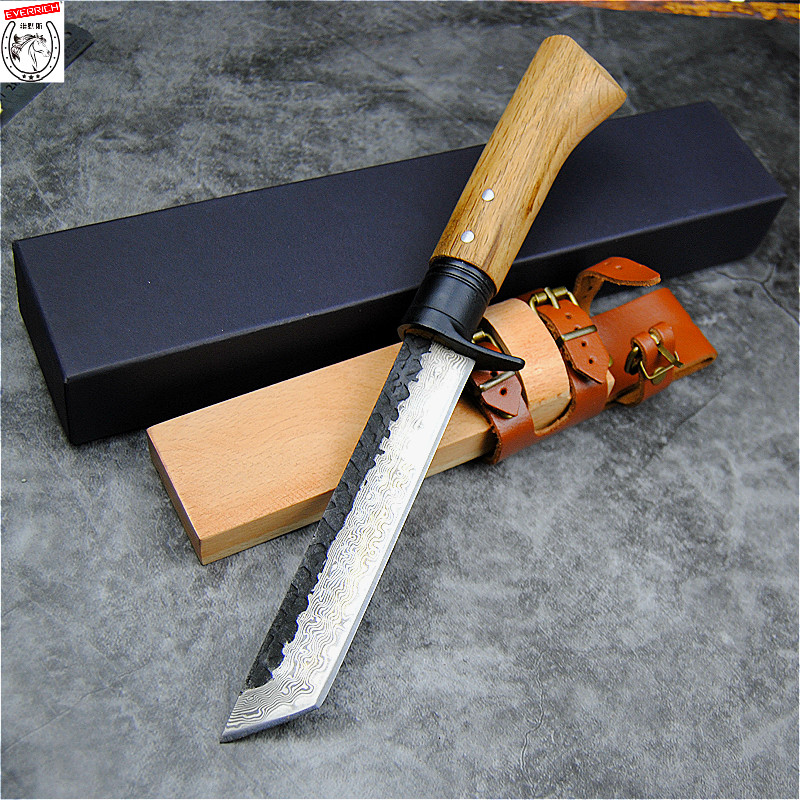 EVERRICH Outdoor Japanese Sword G10 Tactical Straight Small Collection Samurai Forging Hunting Vintage Knife Ornamental Knife