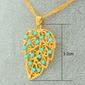 Сусальным золотом Ожерелье Искусственный Бирюзовый Кулон Ожерелья Женщины, Gold Filled Ювелирные Изделия Листья Воротник Одежды Аксессуаров