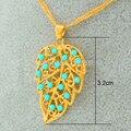 Pan de oro Collar Articial Turquesa Collares pendientes de Las Mujeres, Chapado En oro Filled Joyería Hojas Collar de Accesorios de la Ropa
