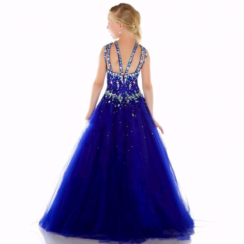 New-Girls-Pageant-Dresses-2016-Ball-Gown-Halter-Royal-Blue-Crystals-Rhinestones-Cute-Little-Flower-Girl (1)