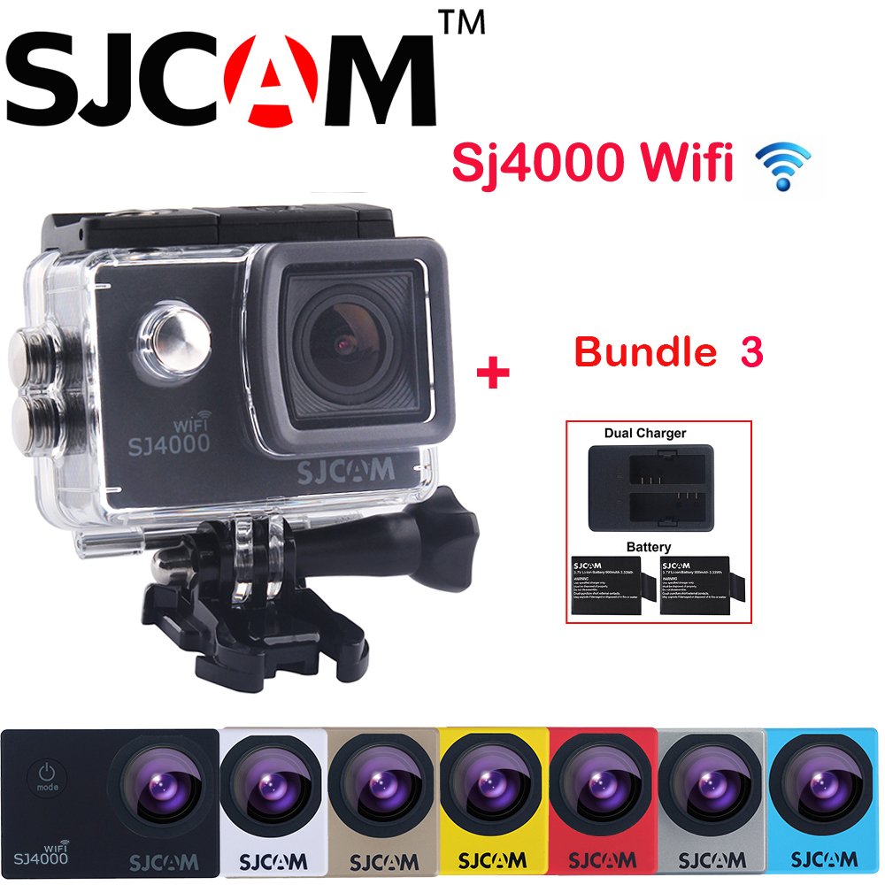 100% Original SJCAM 2'' Screen SJ4000 WIFI 1080P 30M Waterproof Sports Action Camera Car Mini DVR+Extra 2 Battery+Dual Charger