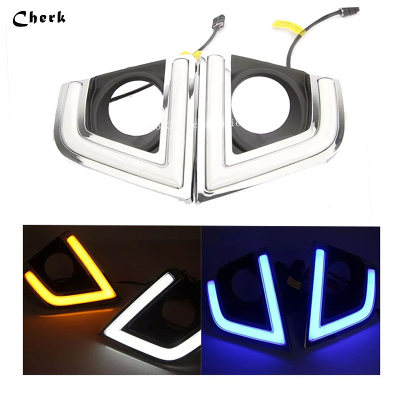 Day Light For Toyota Corolla 2014 2015 2016 LED DRL Daytime Running Light White+Yellow/Bule Turning Singal Waterproof Fog Lamp 2pcs 19cm ice bule and yellow color waterproof nonfog led drl daytime running light with brake no need modify for all car