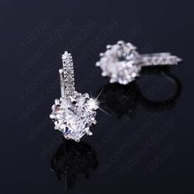 Mewah Colorful Jantung Band Nyata Murni 925 Sterling Silver Perhiasan Batu Cubic Zirconia Anting-Anting Fashion Wanita Favorit(China)