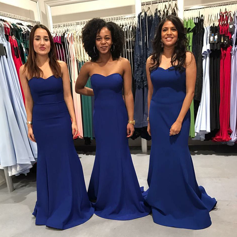 Simple Royal Blue Mermaid   Bridesmaid     Dresses   2019 Sweetheart Sleeveless Long Women Party   Dress   Cheap Formal Gowns Robe De Soiree