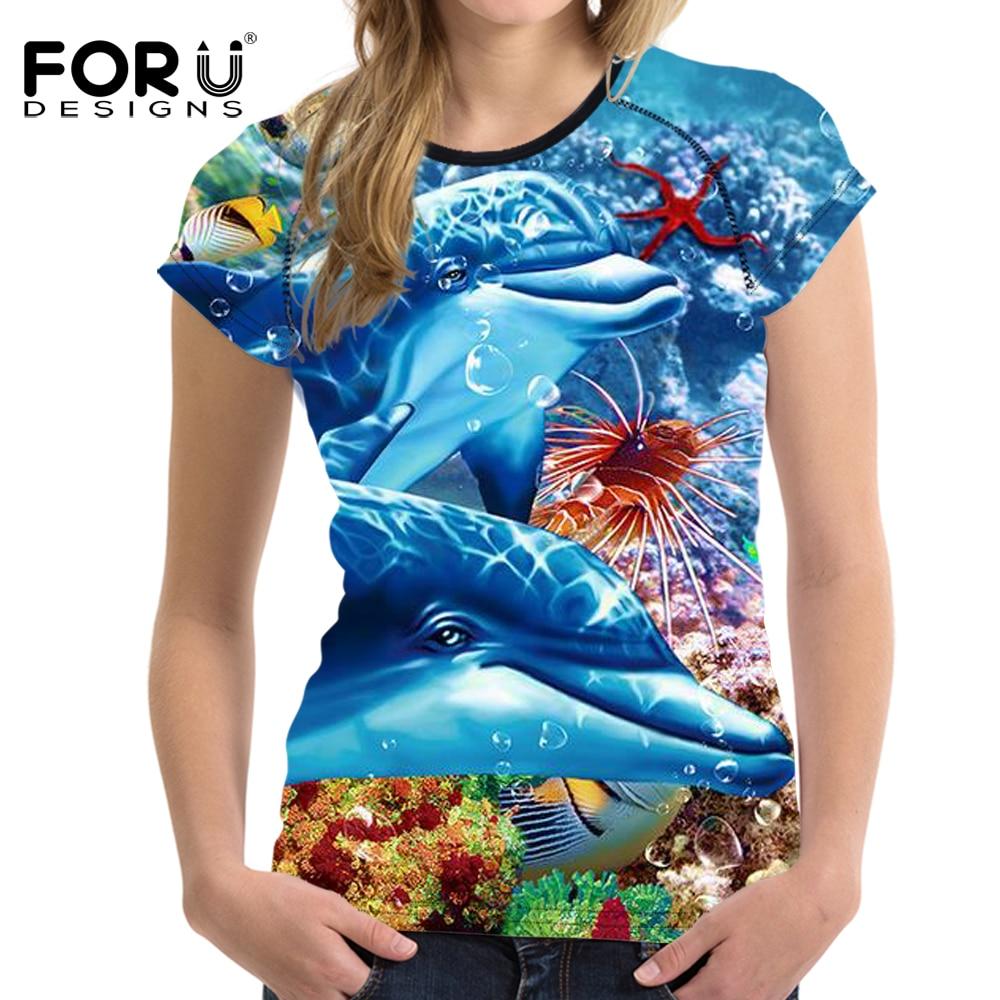 FORUDESIGNS Ամառային կանանց շապիկ Sea World - Կանացի հագուստ - Լուսանկար 2
